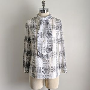 vintage 60's/70's scroll print wide tie blouse